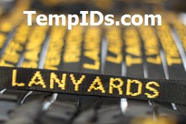 Personalized Lanyards Black with Athletic Gold Embroidered
