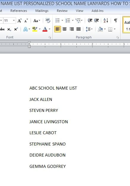 Personalized Lanyards name list in Word