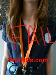 Orange imprinted lanyard can't see print when it twists