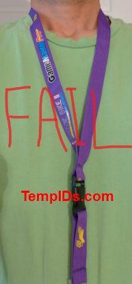 Custom Purple lanyard twist imprint not seen