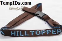 Monogrammed Lanyards Personalized Brown with Baby Blue Imprint