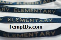 School Lanyards Personalized Navy Blue with Beige Imprint