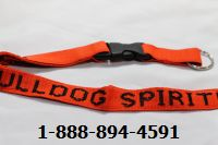 School Lanyards Personalized Orange with Black Imprint