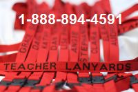 Personalized Lanyards for Schools Red with Black Embroidery
