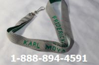 Monogrammed Lanyards Personalized Gray with Green Imprint