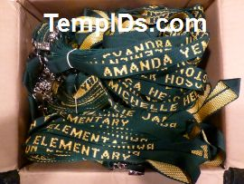 School ID Holders with Individual Teacher Name Dark Green with Gold Imprint