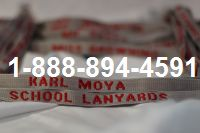 School Lanyards Personalized Gray with Red Imprint