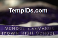 School Lanyards for Teachers Name Purple with Silver Imprint
