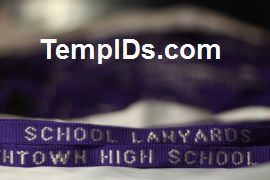 School ID Holders with Individual Teacher Name Purple with Silver Imprint