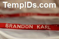 School Lanyards Personalized Red with White Imprint Teachers Name
