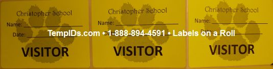 School Visitor Label Sample Labels on a roll