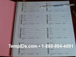 Tardy Book with carbon copy for Schools