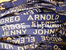 Teacher lanyards white stitching blue material
