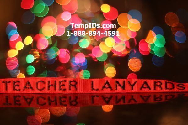Teacher Lanyards Personalized with Christmas Bokeh