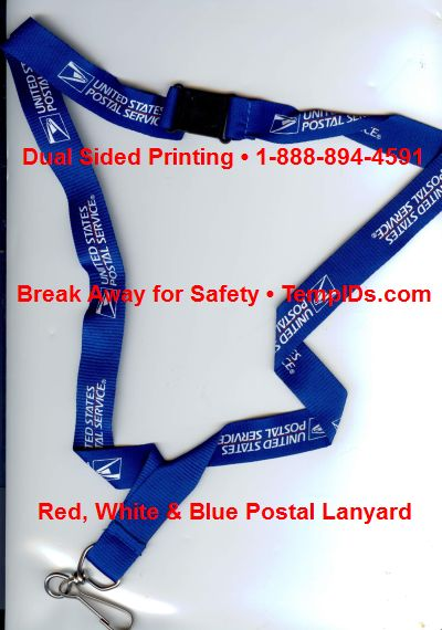 USPS Lanyards in Red White & Blue