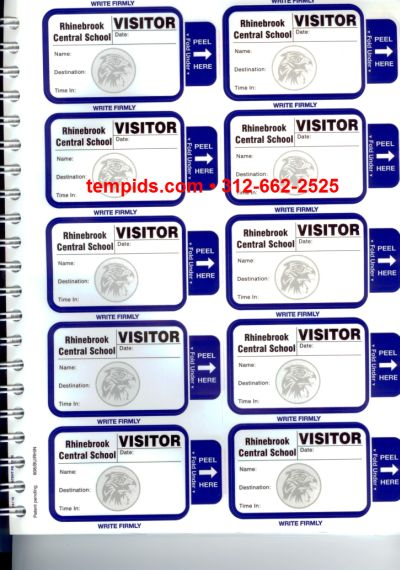 Visitor Badge Pass Book with carbon copy for Schools