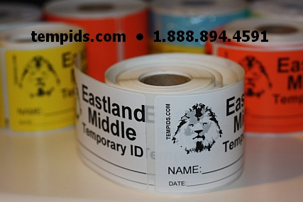 Example of Temp ID White Label Roll
