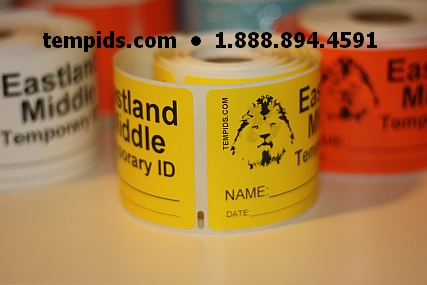 Example of Temp ID Yellow Labels